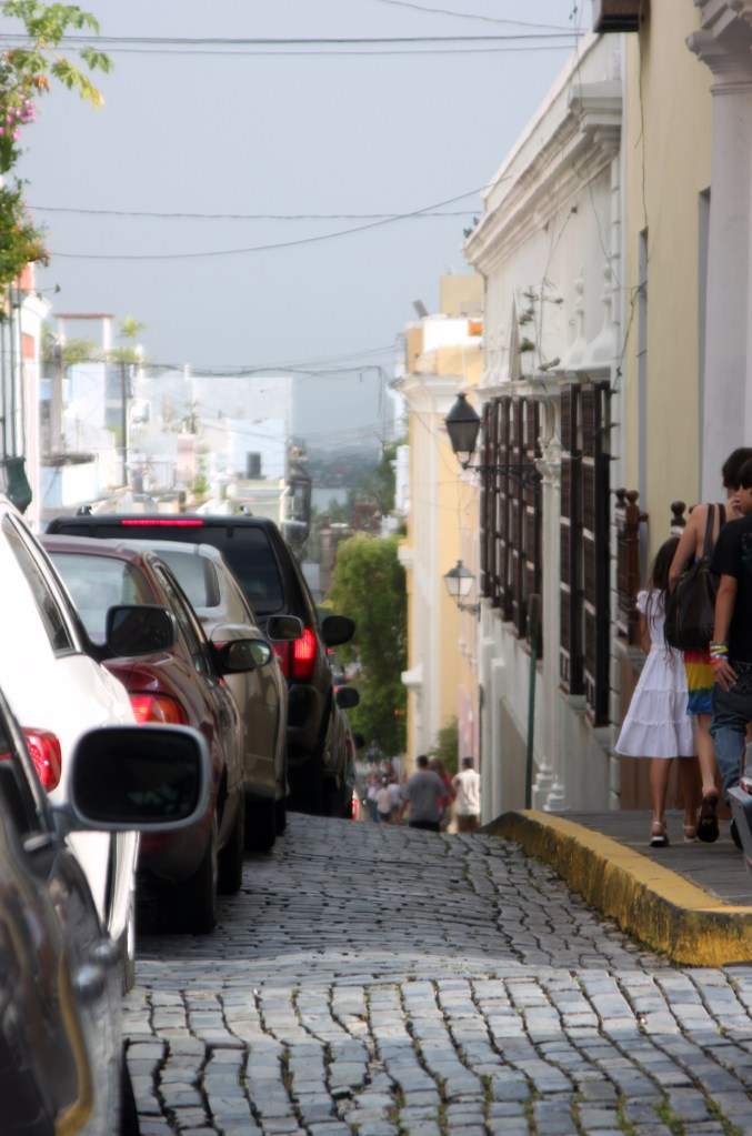 Old San Juan, San Juan, Puerto Rico, cobblestone, traffic, travel, tourism